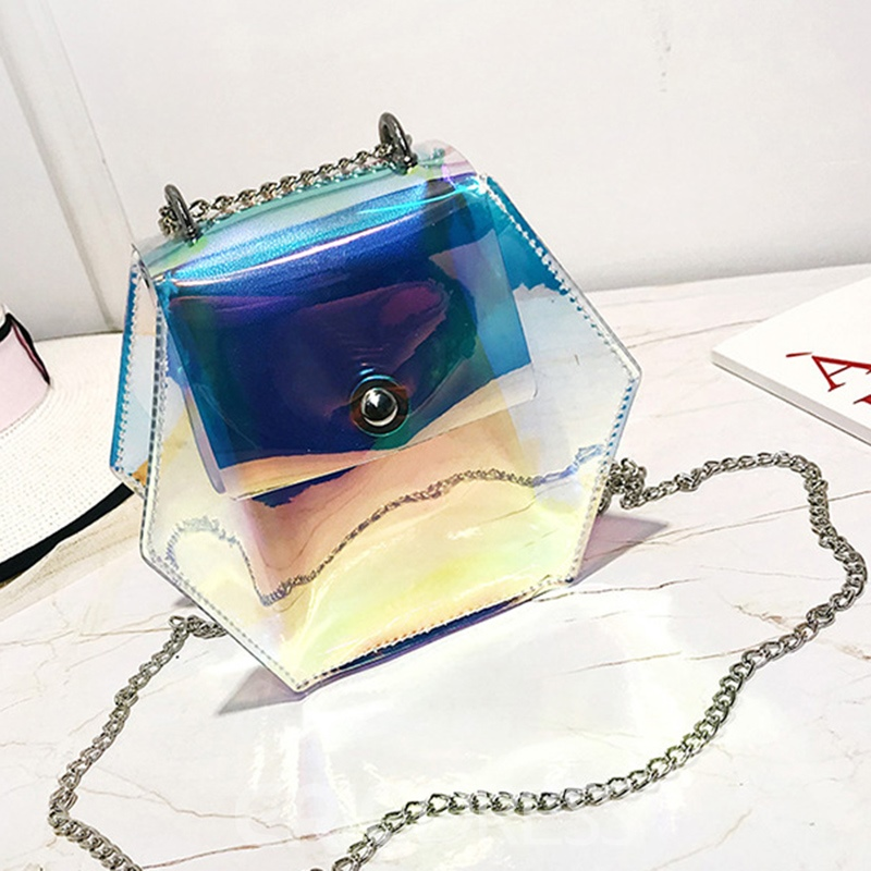 Ericdress Dazzling transparent PVC Chain Jelly Bag