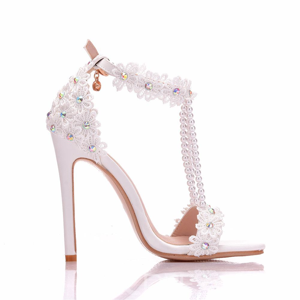 Ericdress Rhinestone Beads Appliques Stiletto Heel Wedding Shoes