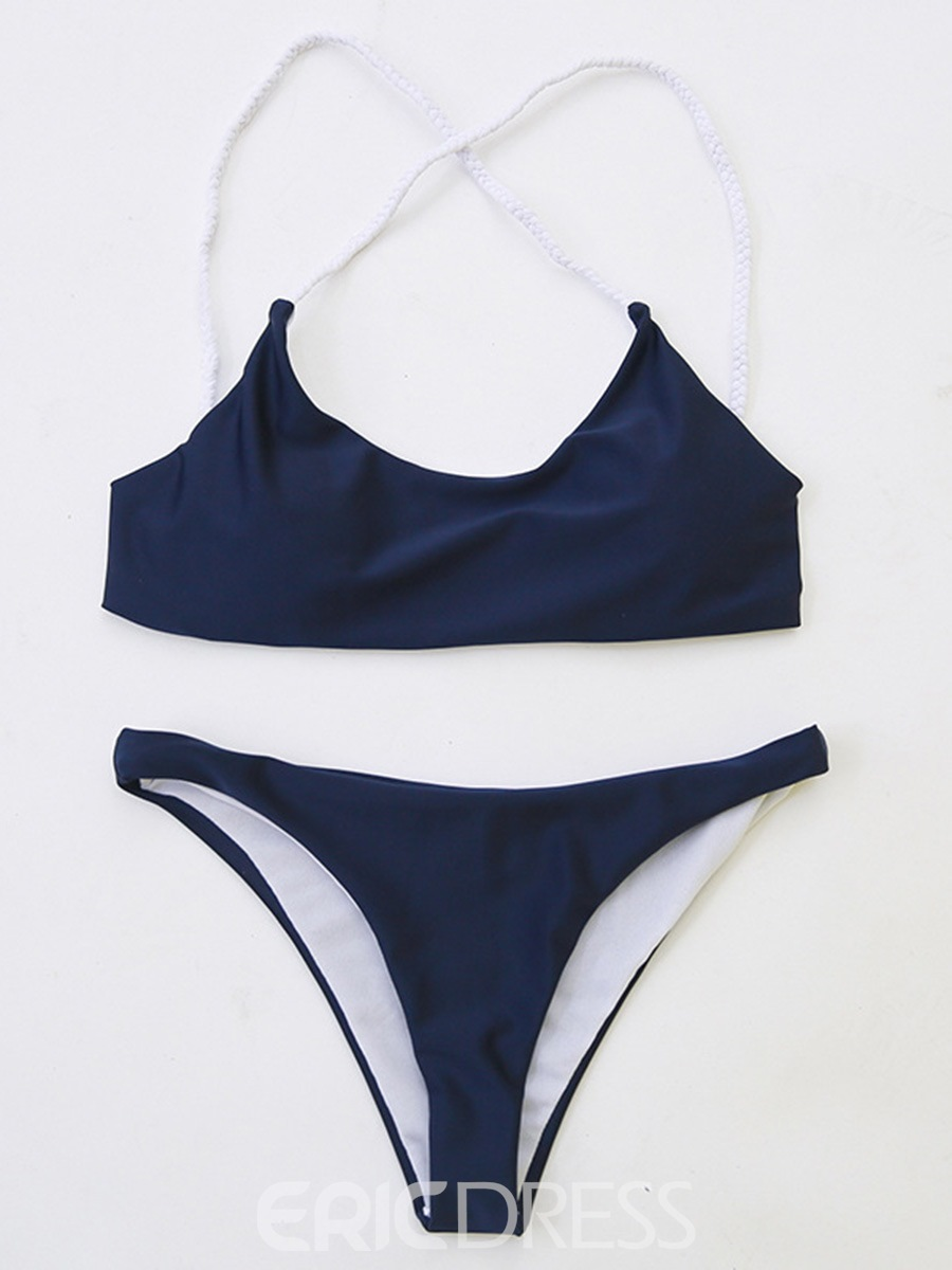Ericdress Dark Blue Plain Cross Back 2-Pcs Bikini Bathing Suits