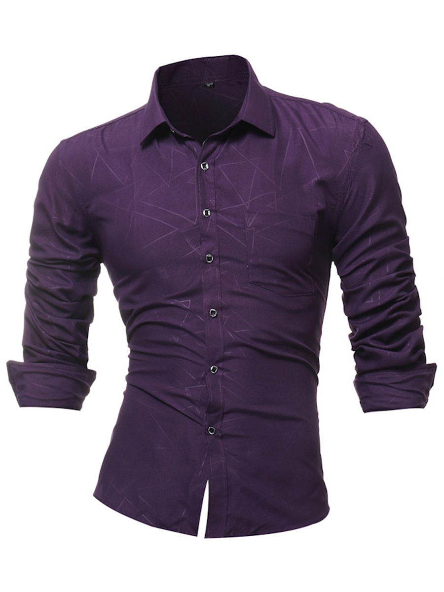 Ericdress Stripe Slim Fit Plain Lapel Mens Button Up Casual Dress Shirts