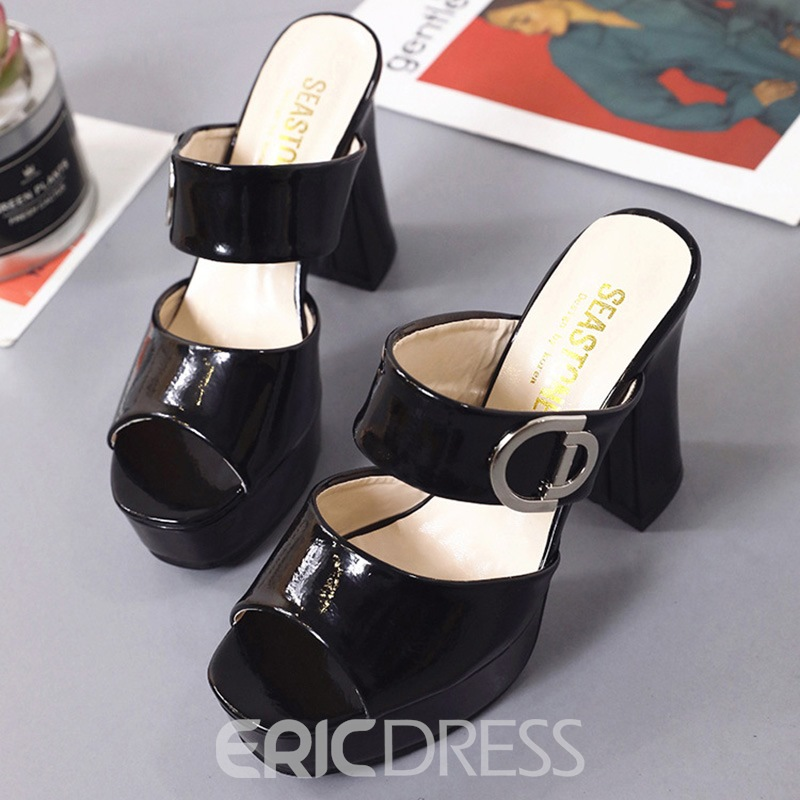 Ericdress PU Sequin Platform Slip-On Mules Shoes