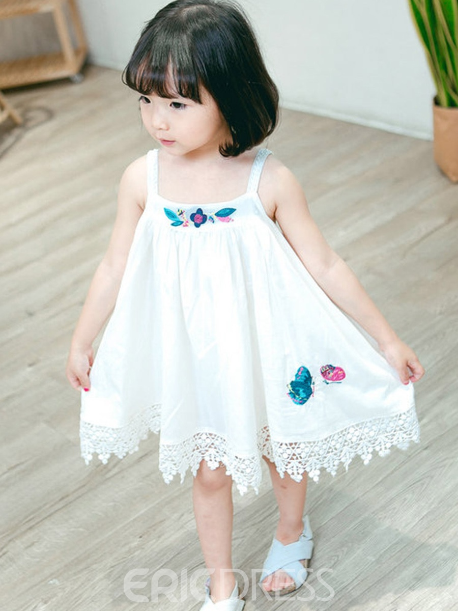 Ericdress Printed Spaghetti Stap Embroidery A-Line Girl's Dress