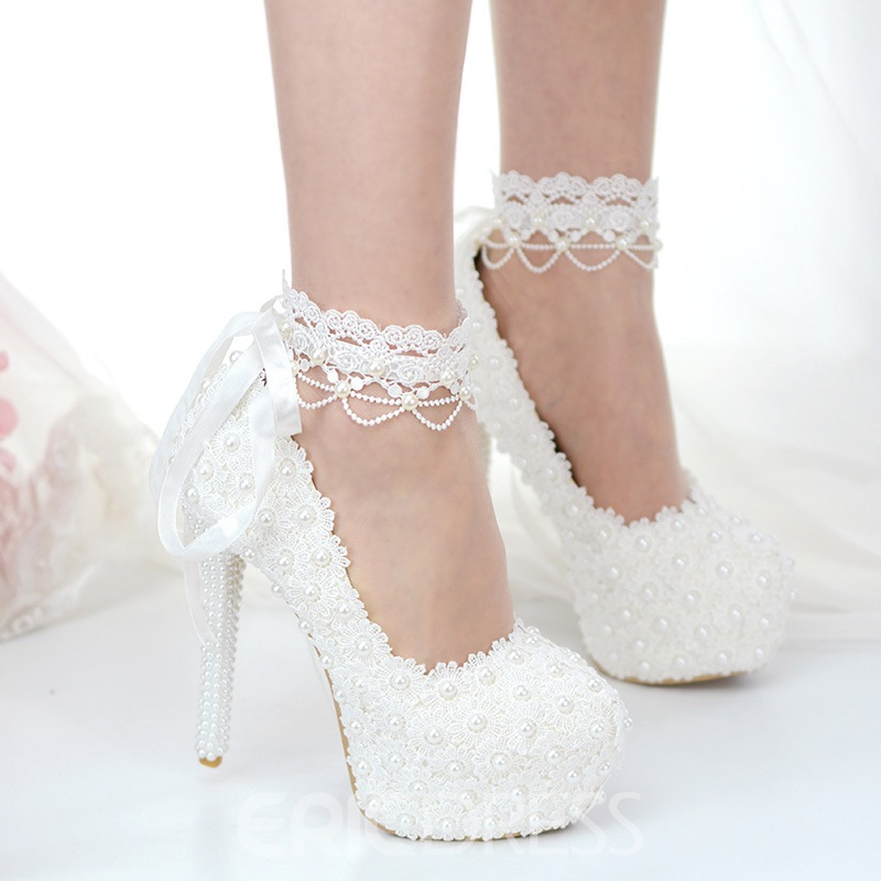 Ericdress Beads Platform Stiletto Heel Lace-Up Wedding Shoes