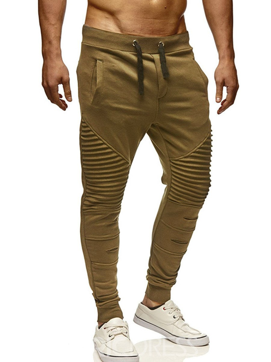 Ericdress Lace Up Plain Skinny Mens Casual Pants