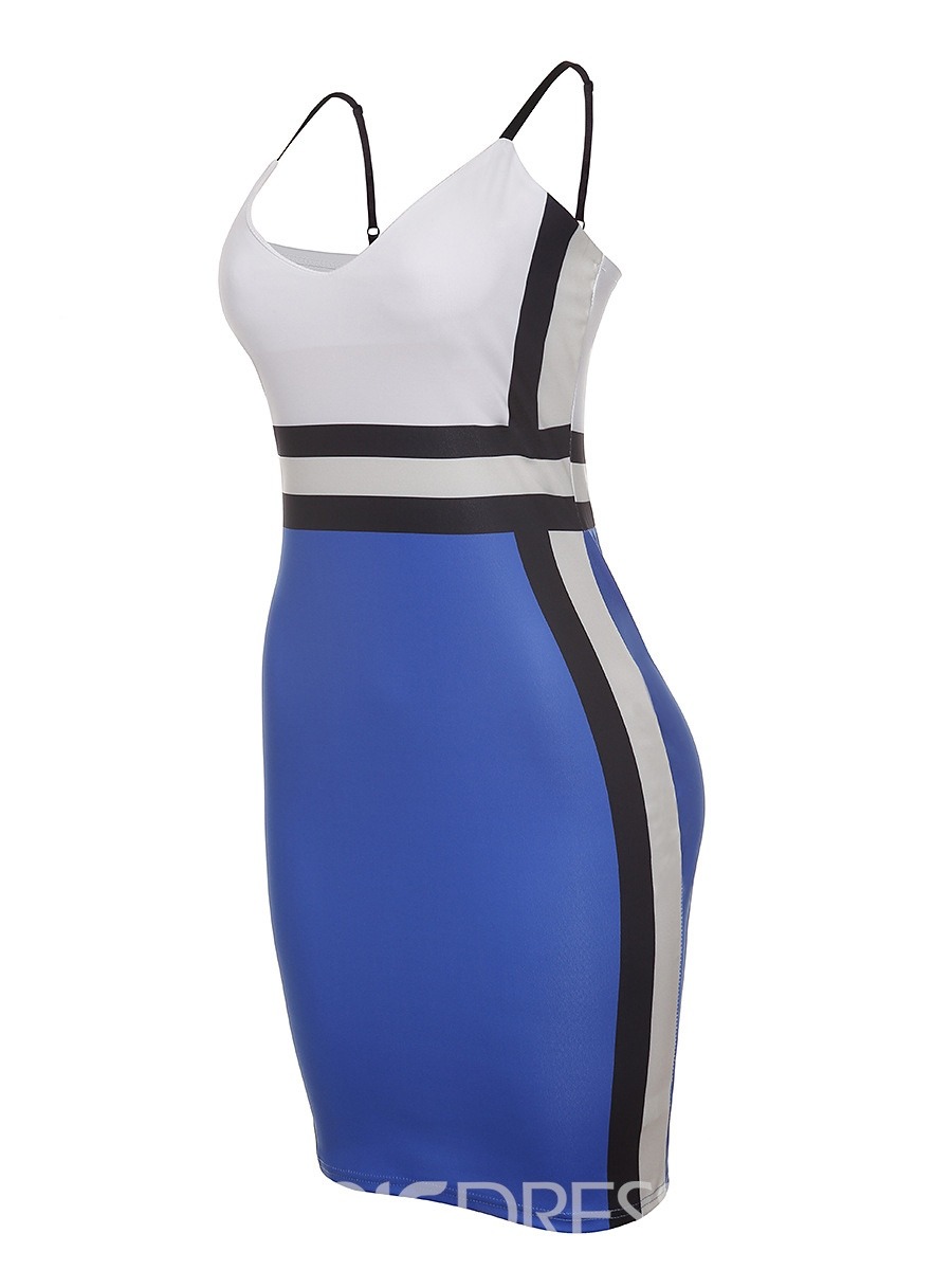 Ericdress Color Block Spaghetti Strap Backless Simple Bodycon Dress