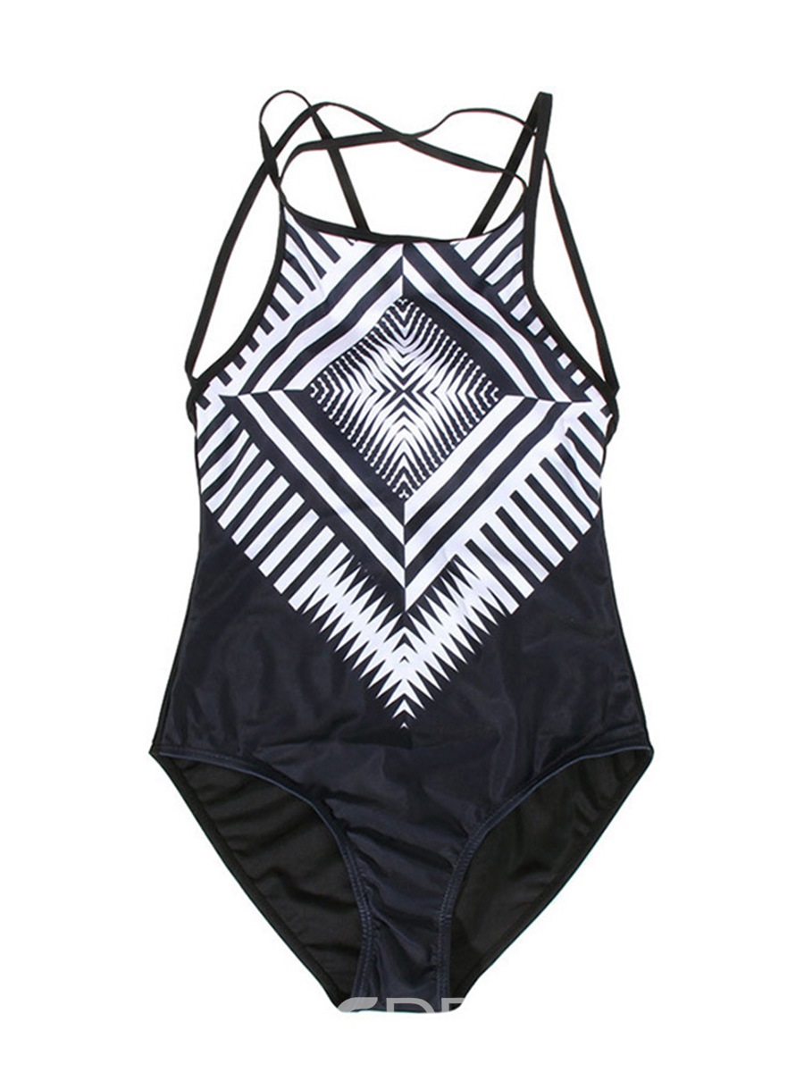 Ericdress Stripe Black One Piece Bathing Suits(Plus Size Aviable)