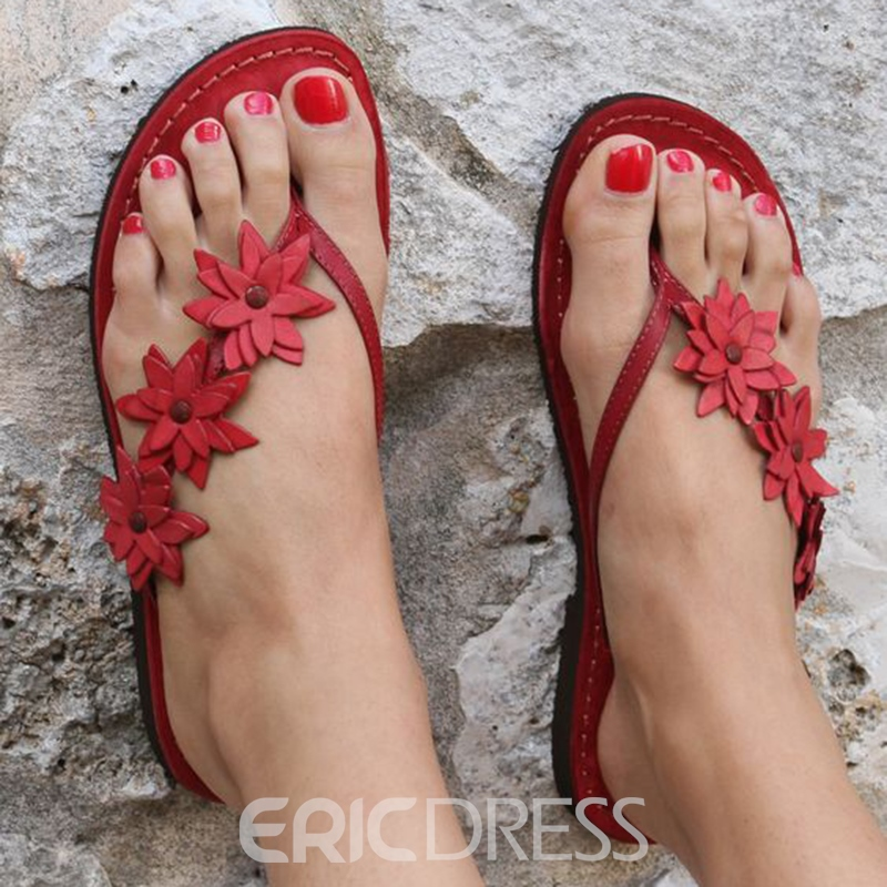 58d4c2685801 Ericdress Appliques Slip-On Thong Mules Shoes 13298459 - Ericdress.com