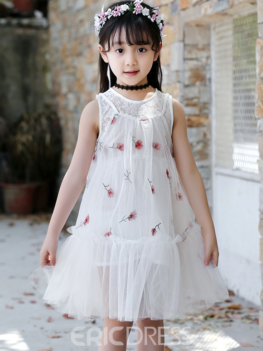 Ericdress Floral Embroidery Patchwork Lace Girl's Casual Dress
