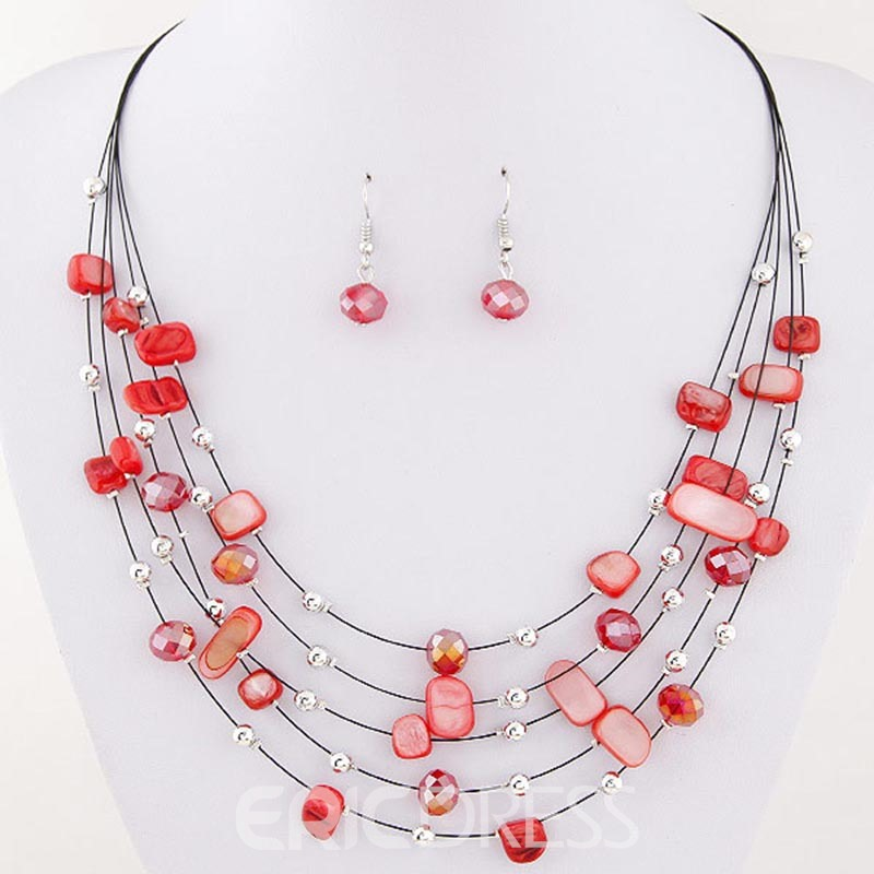 Ericdress Colorfully Shell Multilayer Jewelry Set