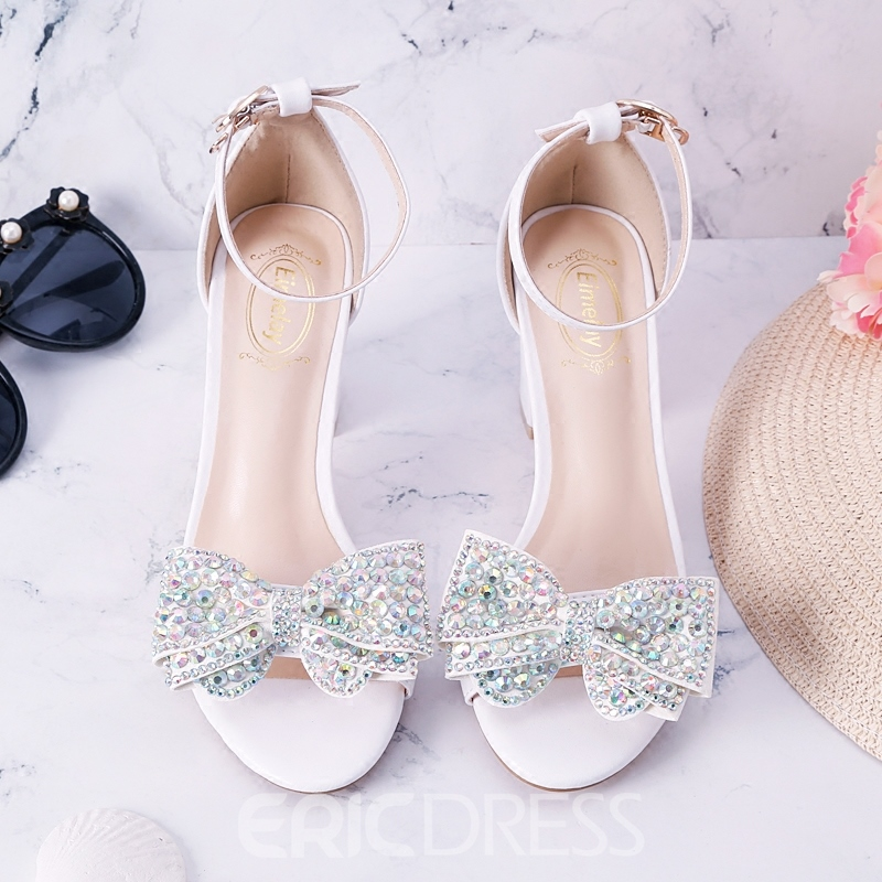Ericdress Bowknot Rhinestone Heel Covering Chunky Sandals