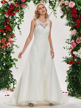Ericdress Round Neck A Line Appliques Wedding Dress