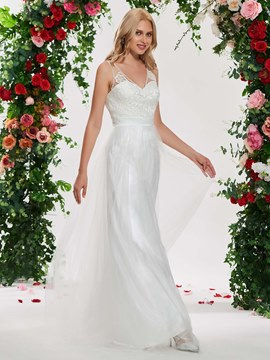 Ericdress Beading Straps Lace Garden Wedding Dress