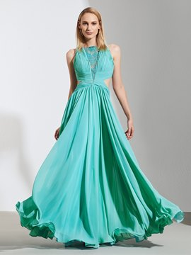 Ericdress A Line Pleats Lace Applique Long Prom Dress