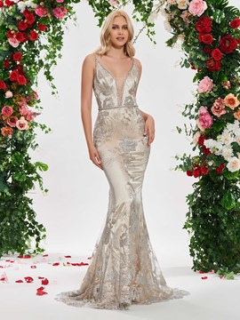 e03aba463ae Ericdress Deep V Neck Mermaid Backless Wedding Dress