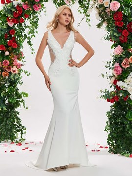 Ericdress V Neck Mermaid Appliques Wedding Dress
