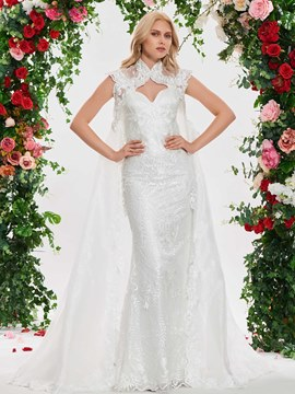 Ericdress Mermaid Lace Spaghetti Straps Wedding Dress