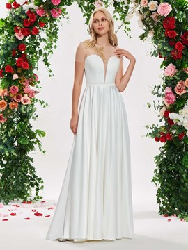 Ericdress Illusion Neck Beading Short Sleeve Wedding Dress