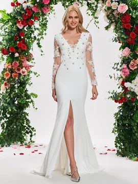 Ericdress Long Sleeves Beading Mermaid Split Front Wedding Dress