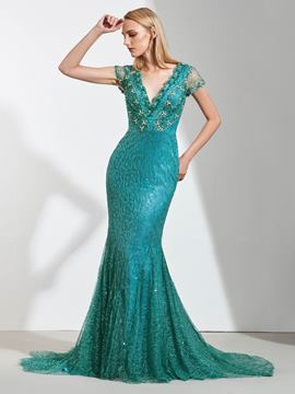 Ericdress Cap Sleeve Lace Mermaid Evening Dress