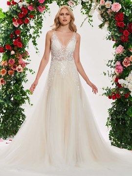 84f2f3d870f9d Ericdress V Neck A Line Lace Color Wedding Dress