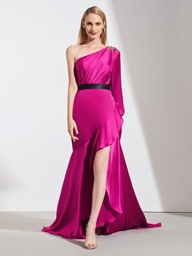 Ericdress A Line One Shoulder High Low Asymmetry Prom Dress