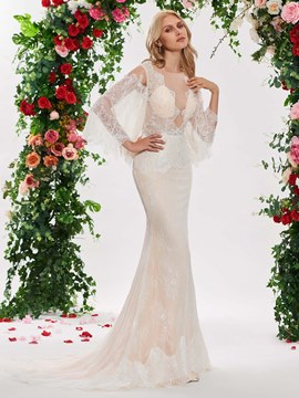 c075a06f33f88 Ericdress Sexy Mermaid Lace Long Sleeves Wedding Dress