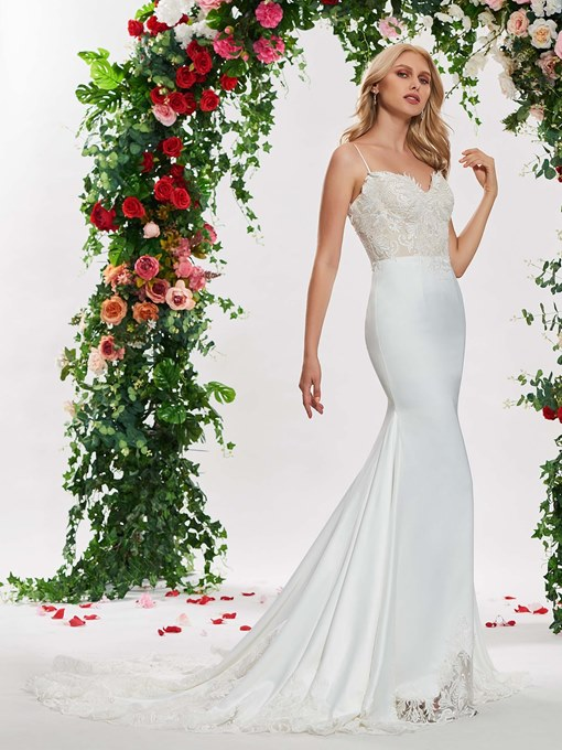 Ericdress Spaghetti Straps Mermaid Appliques Wedding Dress
