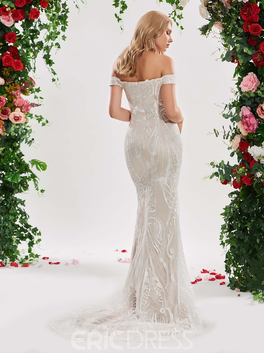 Ericdress Off the Shoulder Mermaid Lace Wedding Dress
