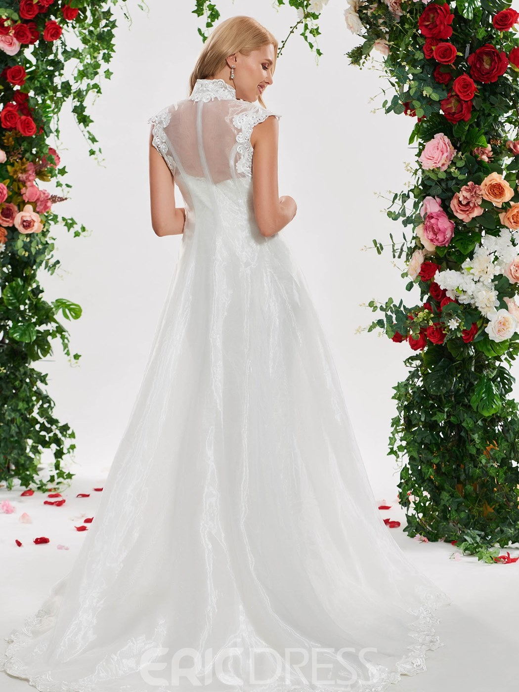 Ericdress Mermaid Lace Wedding Dress with Cape