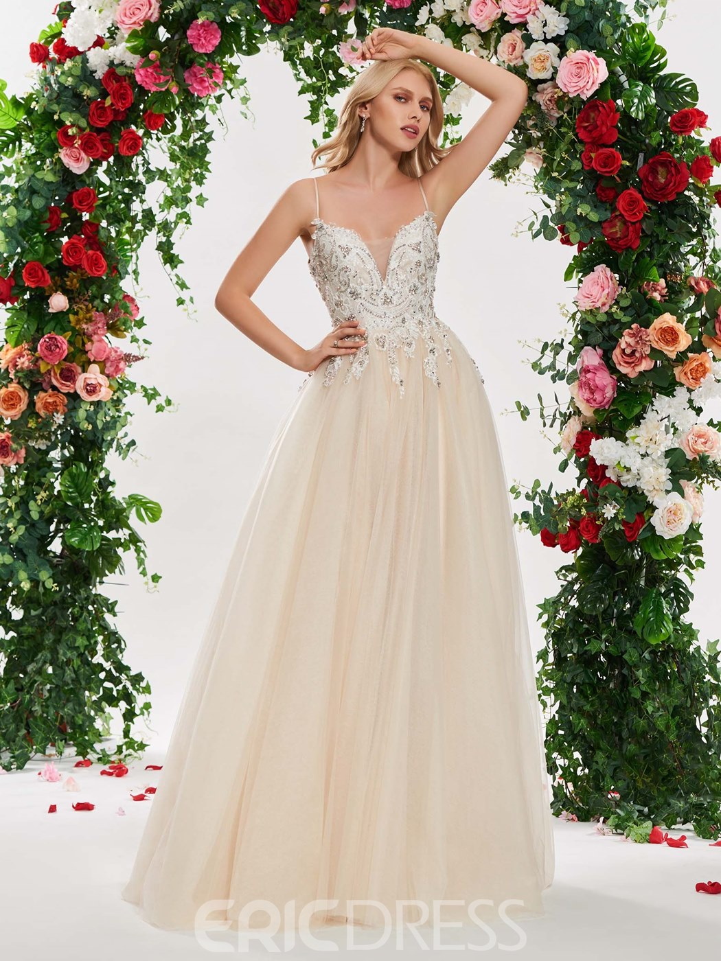 Ericdress Spaghetti Straps A Line Tulle Color Wedding Dress