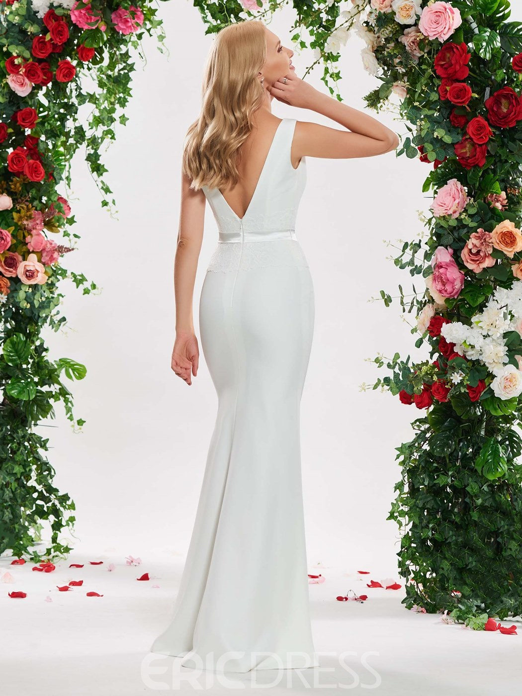 Ericdress Mermaid Backless Sleeveless Wedding Dress