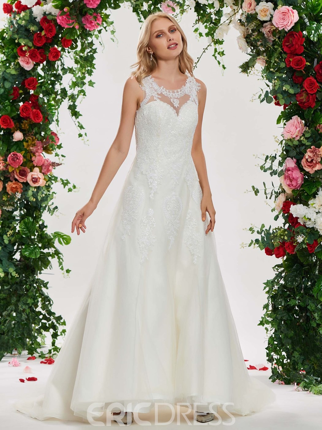 Ericdress Scoop A Line Lace Wedding Dress