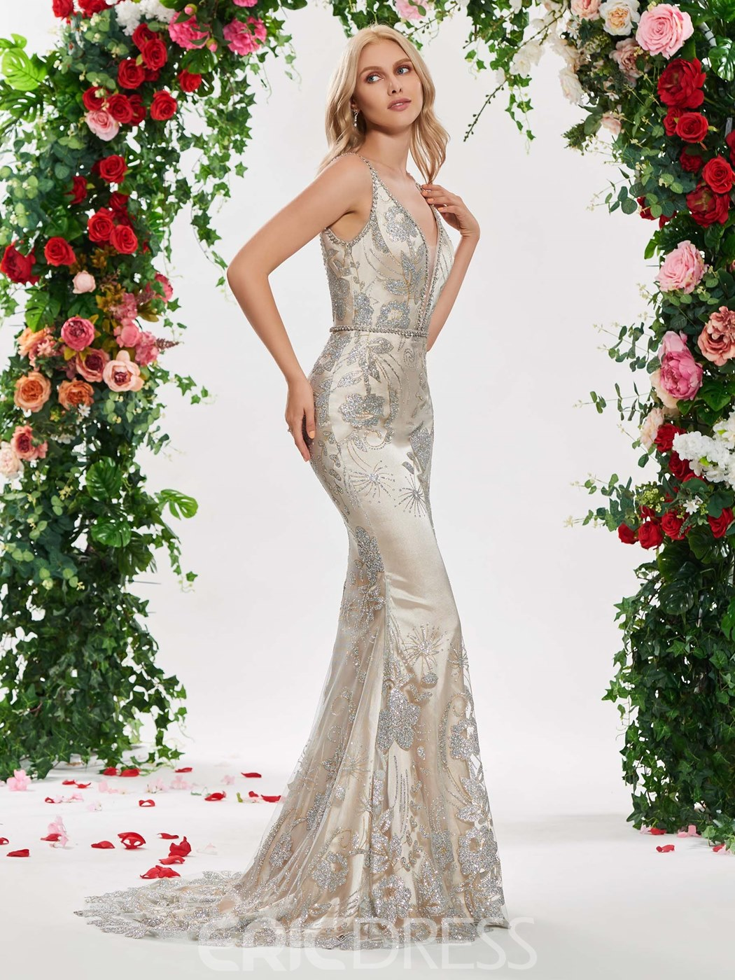Ericdress Deep V Neck Mermaid Backless Wedding Dress