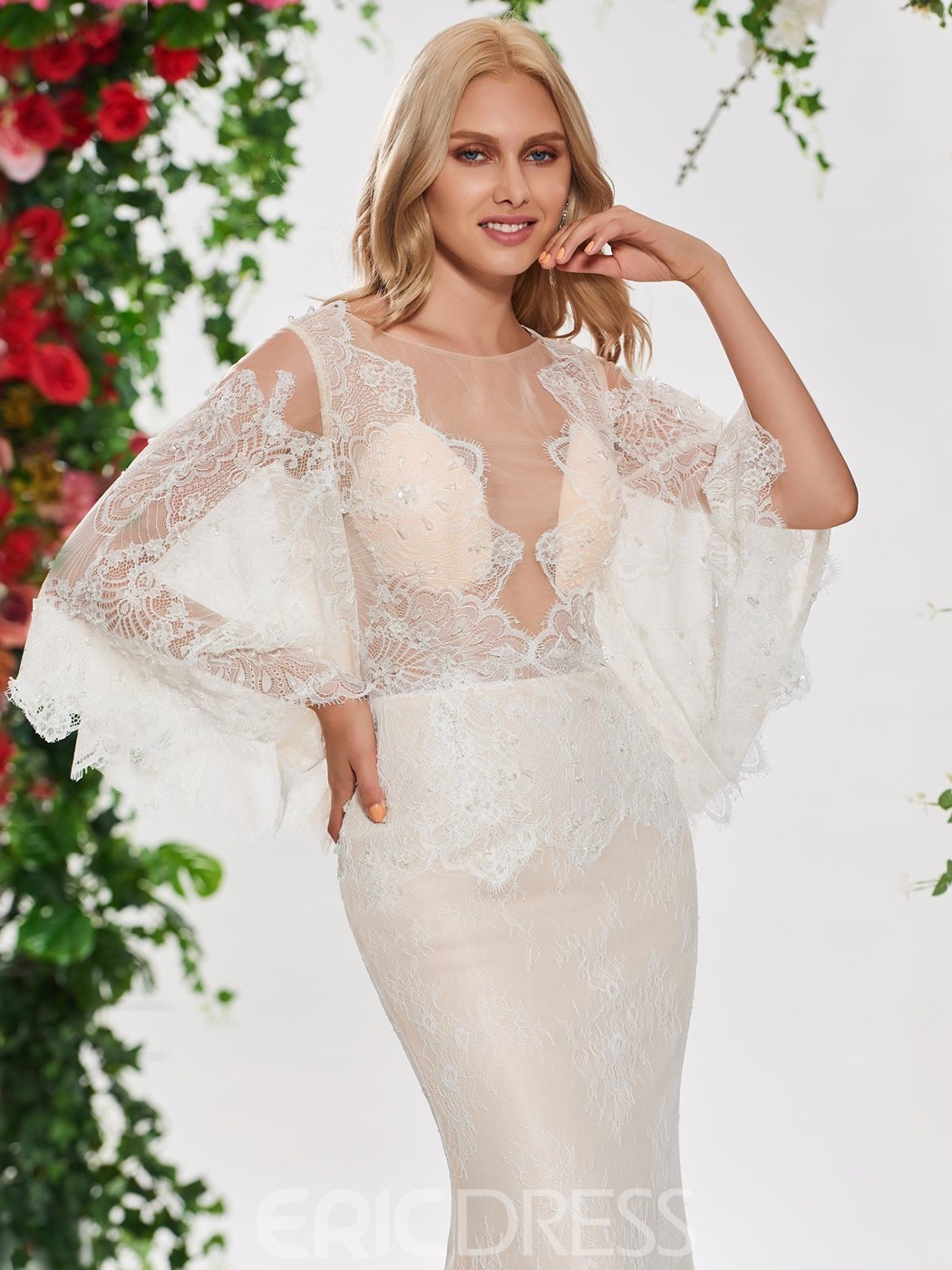 Ericdress Sexy Mermaid Lace Long Sleeves Wedding Dress