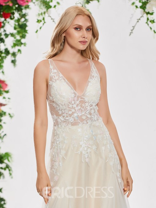 Ericdress V Neck A Line Lace Color Wedding Dress