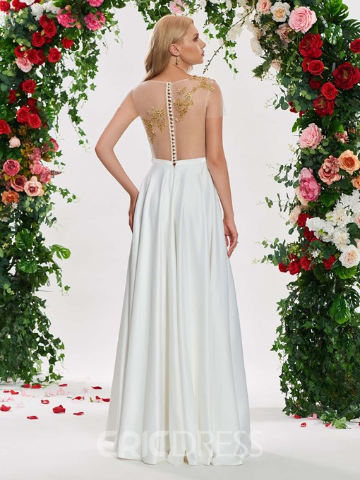 Ericdress Illusion Neck Embroidery Beading Short Sleeves Wedding Dress