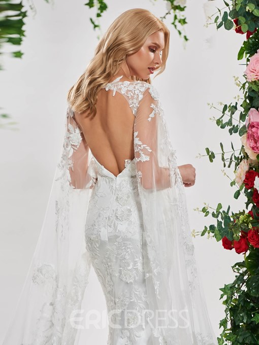 Ericdress Lace Mermaid Long Sleeves Backless Wedding Dress