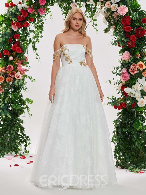 Ericdress Off the Shoulder Beading Lace Wedding Dress