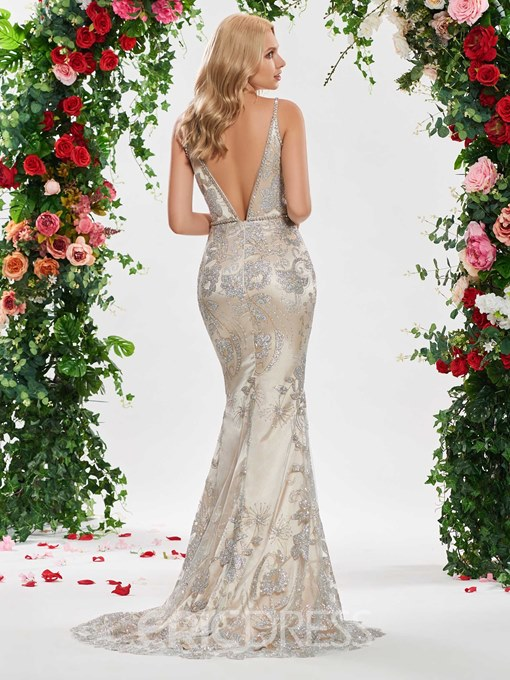Ericdress Deep V Neck Mermaid Low Back Wedding Dress