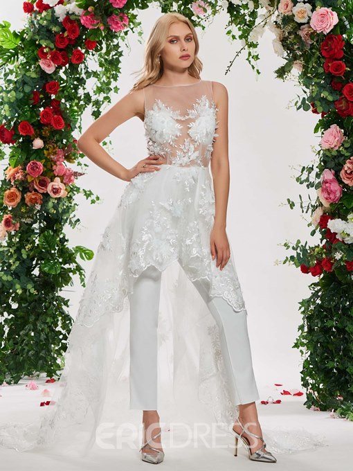 Ericdress Illusion Neck Ankle Length Wedding Jumpsuit
