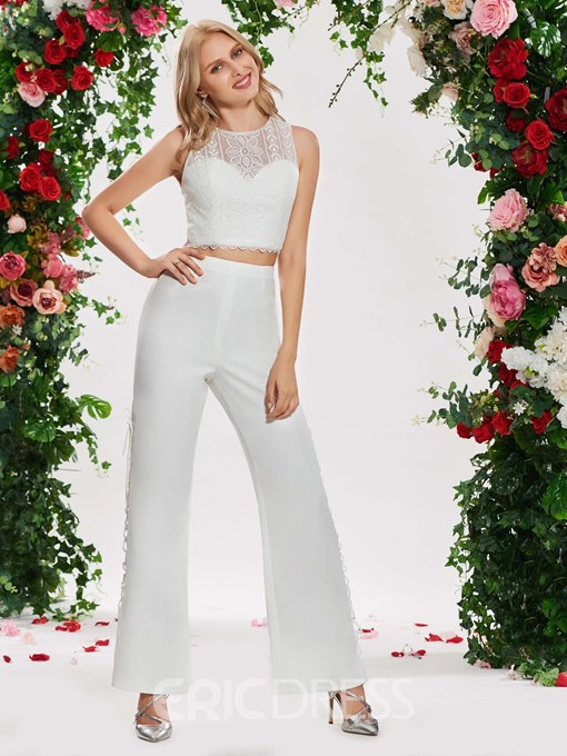 Ericdress Two Pieces Lace Outdoor Wedding Pantsuits