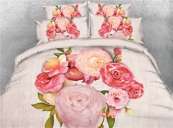 Image of 3D A Bouquet of Peonies Digital Printing 4-Piece Bedding Sets/Duvet Covers