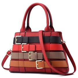 Ericdress Belt Decorated Stripe Handbag