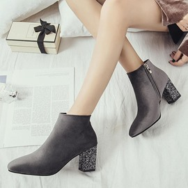 Ericdress Sequin Square Toe Chunky Heel Women's Ankle Boots