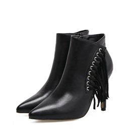 Ericdress Fringe Pointed Toe Side Zipper Women's Ankle Boots