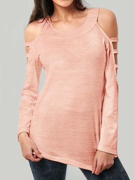 Ericdress Cold Shoulder Plain Slim Hollow Long Sleeve T-shirt