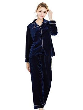 Ericdress Women's Gold Velvet Lapel Simple Pajamas Set