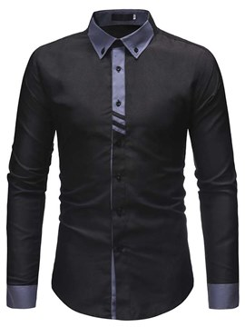 Ericdress Patchwork Slim Button Down Mens Casual Dress Shirts