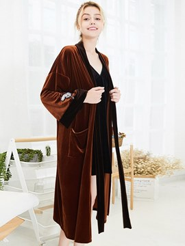 Ericdress Velvet Long Simple Lover Robe for Momen