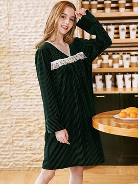 Ericdress Gold Velvet V-Neck Long Sleeve Knee-Length Nightgown